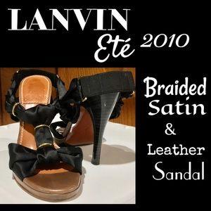 ⭐️HP⭐LANVIN▪️Braided Satin & Leather Heeled Sandal